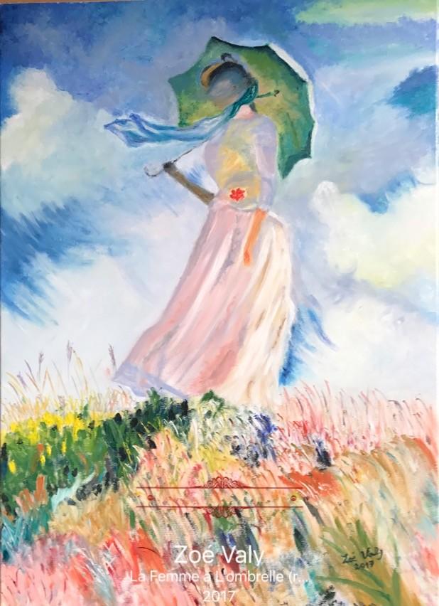 """Zoé Valy - Reproduction de """"La Femme à l'Ombrelle"""" Monet.jpg"""